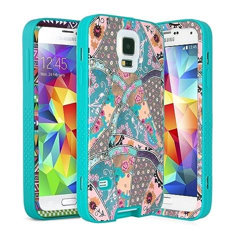 Carcasa S5, ULAK Galaxy S5 Funda Case hñbrida protector para Samsung Galaxy S5 con el de Diseńo Moderno Diseńado y Protector de pantalla (ver Sound)