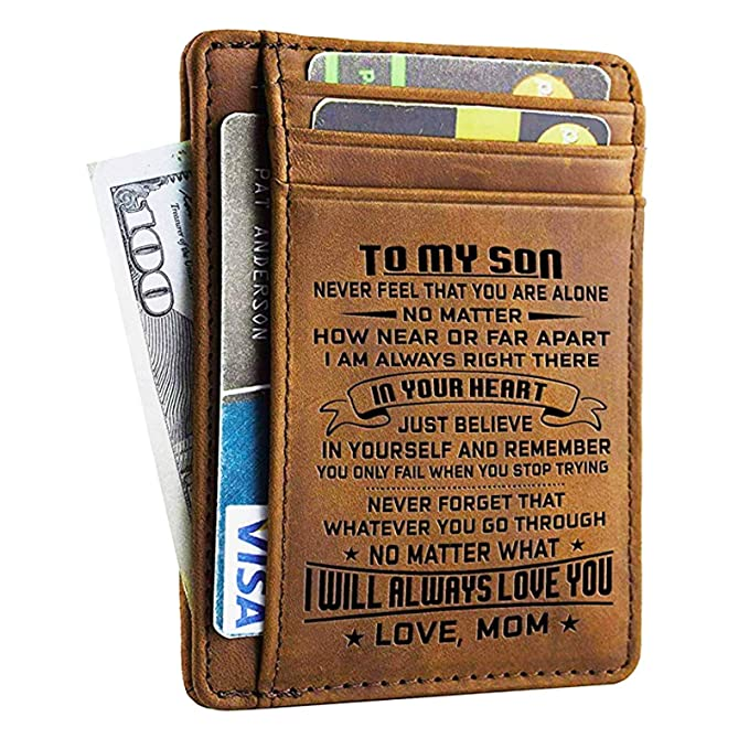 Amazon Com Mom Son Wallet Engraved Leather Front Pocket Wallet A