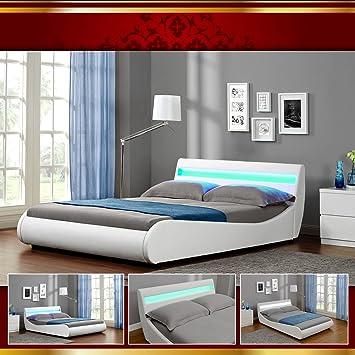 venedig led luxus weiss polsterbett doppelbett bettgestell bettrahmen mit latten 140 x 200 cm - Doppelbett Luxus