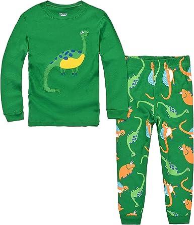 Jungen Schlafanz/üge Kinder Langarm Dinosaurier Pyjama Zweiteiliger Nachtw/äsche 92 98 104 110 116 122