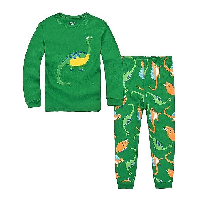 DAWILS Pijama para Niños de Dinosaurio Verde - Manga Larga - Pijama Dos Piezas 2 años