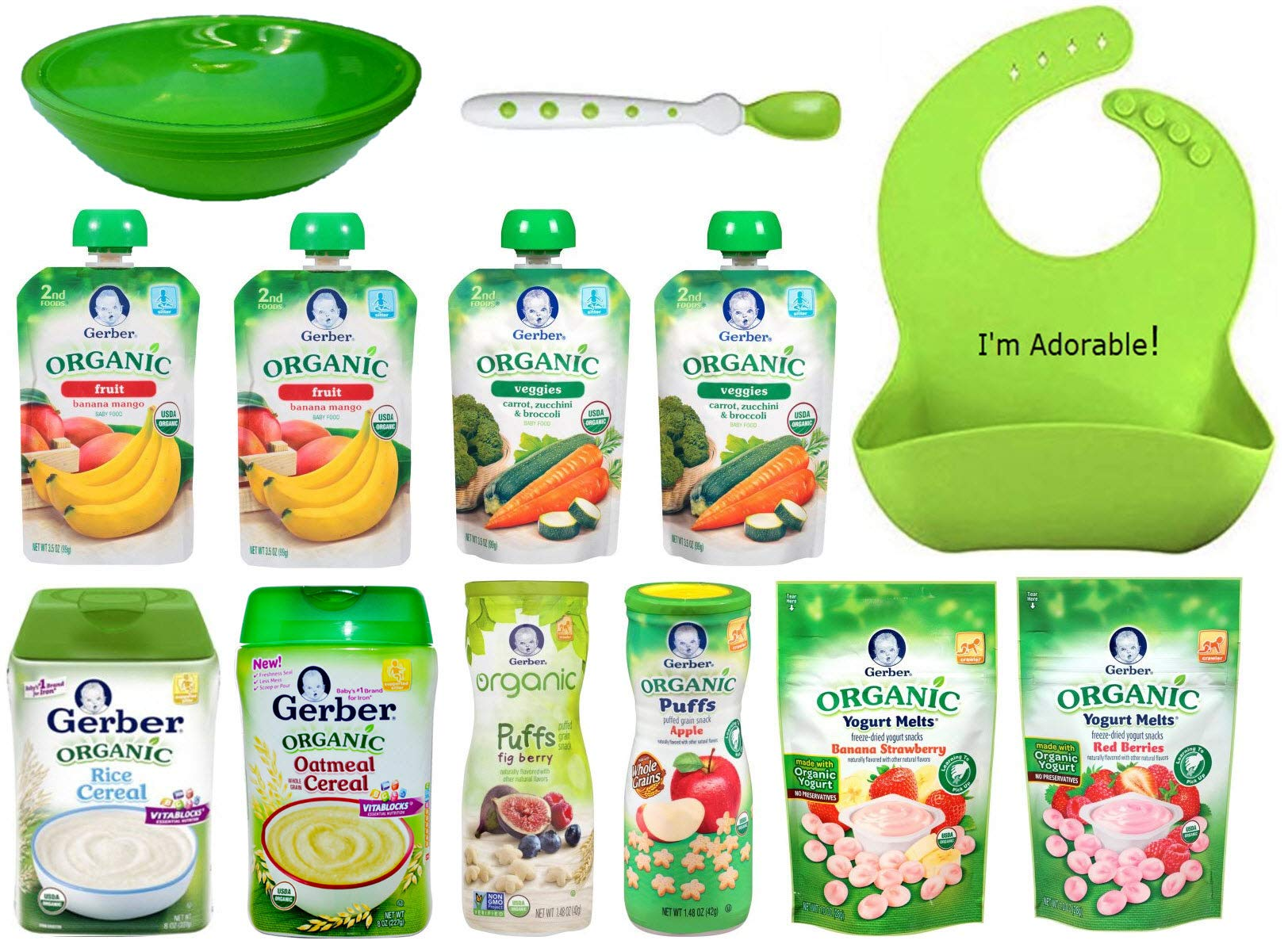 Gerber ORGANIC Baby Food Assorted Meals Gift Basket: Cereal, Puffs, Yogurt Melts, Food Pouches + Spoon, Bowl, Waterproof Silicone Bib, Gift Box For Babies, Crawlers and Toddlers Bundle of 13 items