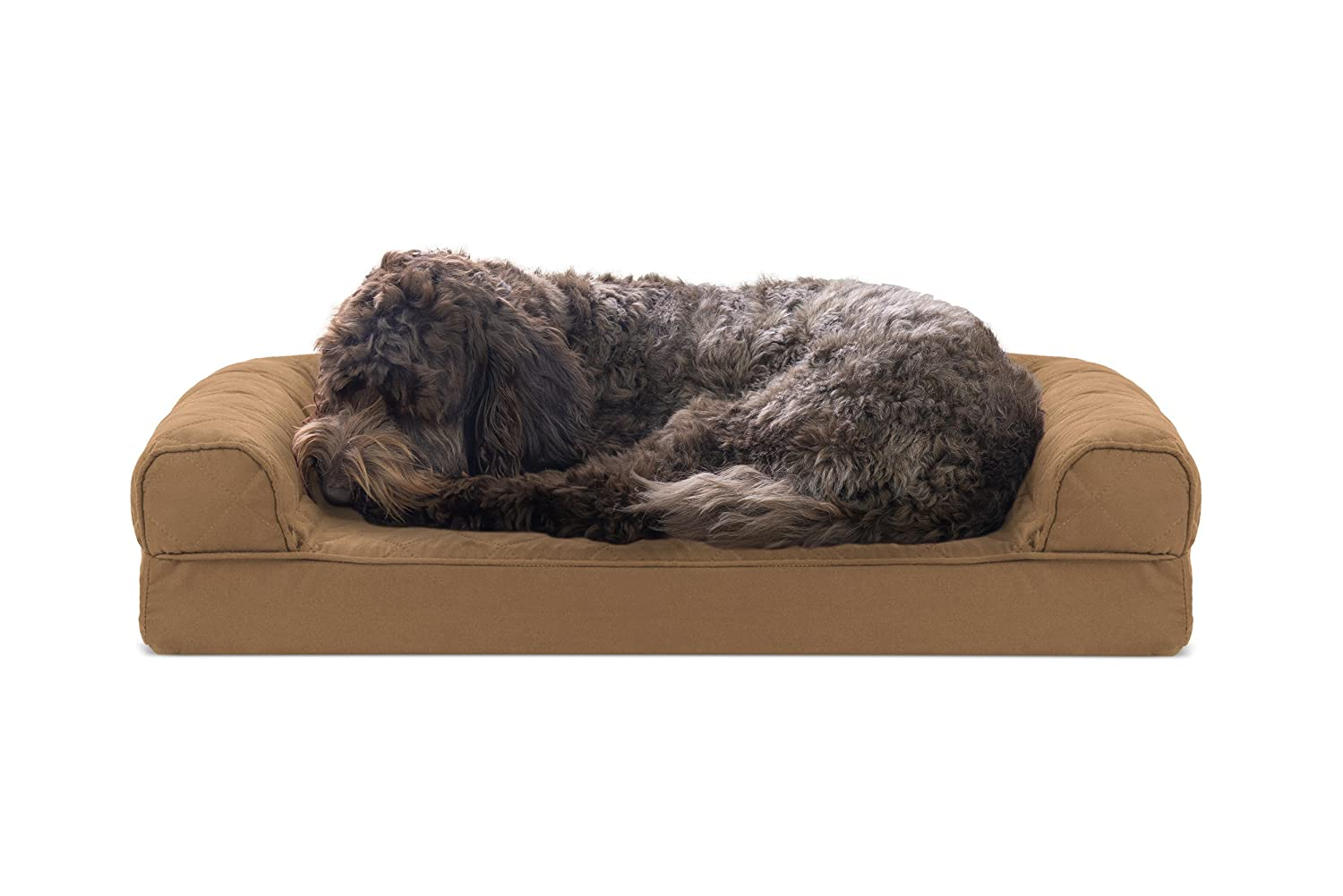 FurHaven Pet Dog Bed   Cooling Gel Memory Foam Orthopedic Quilted Sofa-Style Couch Pet Bed for Dogs & Cats, Toasted Brown, Medium