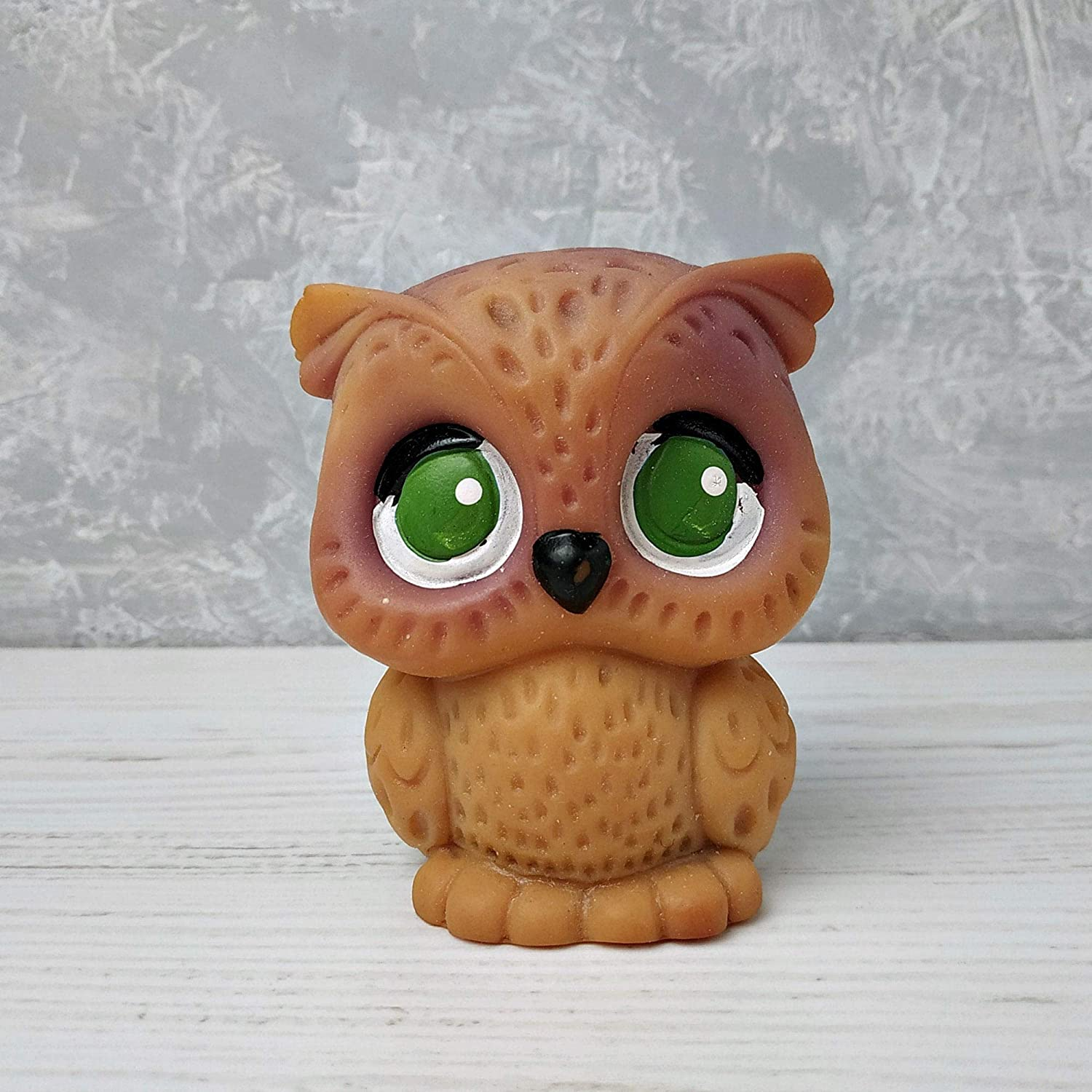 Owls rubber Soviet vintage toy Childs Rubber Squeaky Kids Toys Beige Animal 1970s Gift for Baby Lovers of owl Retro Russia Collectible Toy