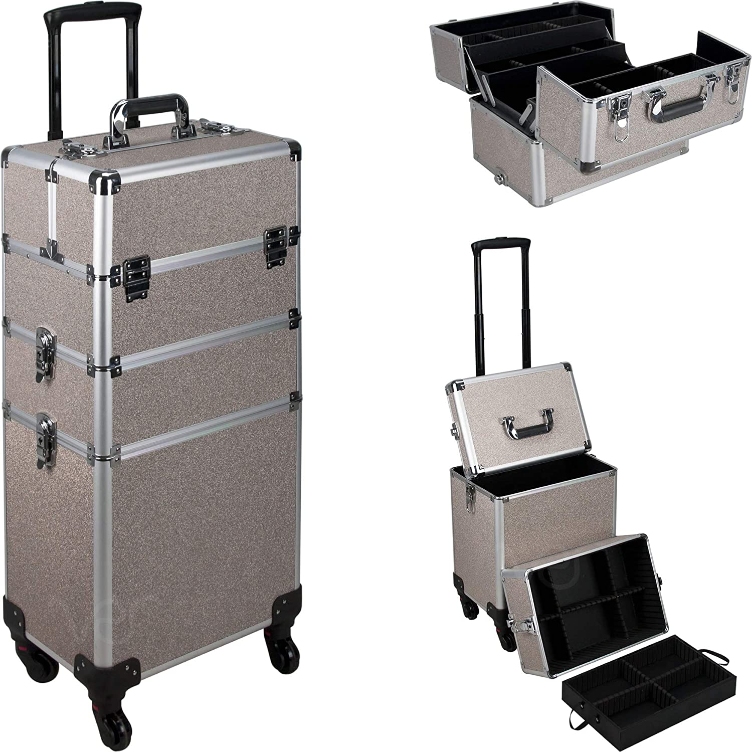 Ver Beauty 7-in-1 Professional 4 Wheels Removable Rolling Cosmetic Makeup Artist Train Case Organizer Travel Adjustable Dividers - Vr6506, Silver Beige Glitter