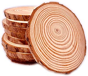 Unfinished Natural with Tree Bark Wood Slices 10 Pcs 4.2-4.7 inch Disc Coasters Wood Coaster Pieces Craft Wood kit Circles Crafts Christmas Ornaments DIY Crafts with Bark for Crafts Rustic Wedding Orn
