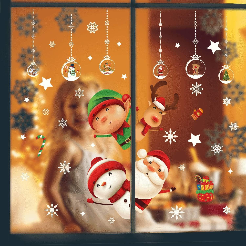 DURINM Navidad Pegatina Calcoman/ías para Ventanas Lindo Decoraci/ón De Ventanas Espiar Santa Claus Calcoman/ías Electrost/áticas Ventanas