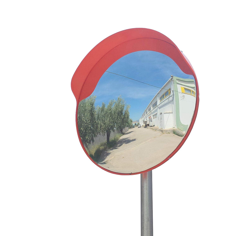 ECM-60-O2-o Espejo de seguridad, convexo, de color naranja, de 60 cm de diá metro, para garantizar la seguridad en calles y en tiendas, con soporte de fijació n ajustable para poste de 60 mm de 60 cm de diámetro SNS SAFETY LTD