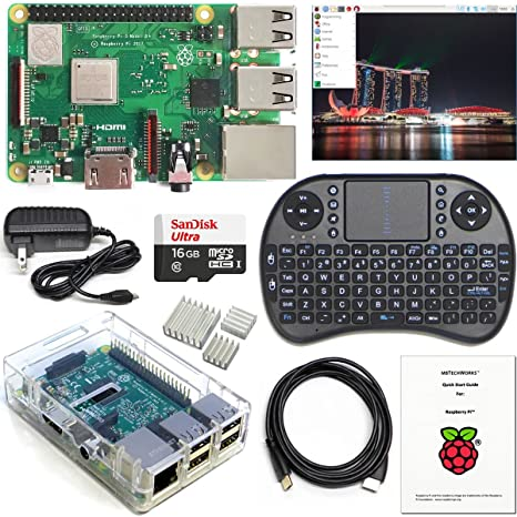 Raspberry Pi 3 B+ Kit - WiFi, Bluetooth, Raspbian, Wireless Keyboard, 16GB  High-speed SD, 3A Power Supply, Clear Case