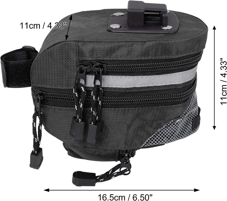 X AUTOHAUX 16.5x11x11cm Bike Saddlebag Cycling Under Seat Bag Tool Pouch Pack Storage Bag Black