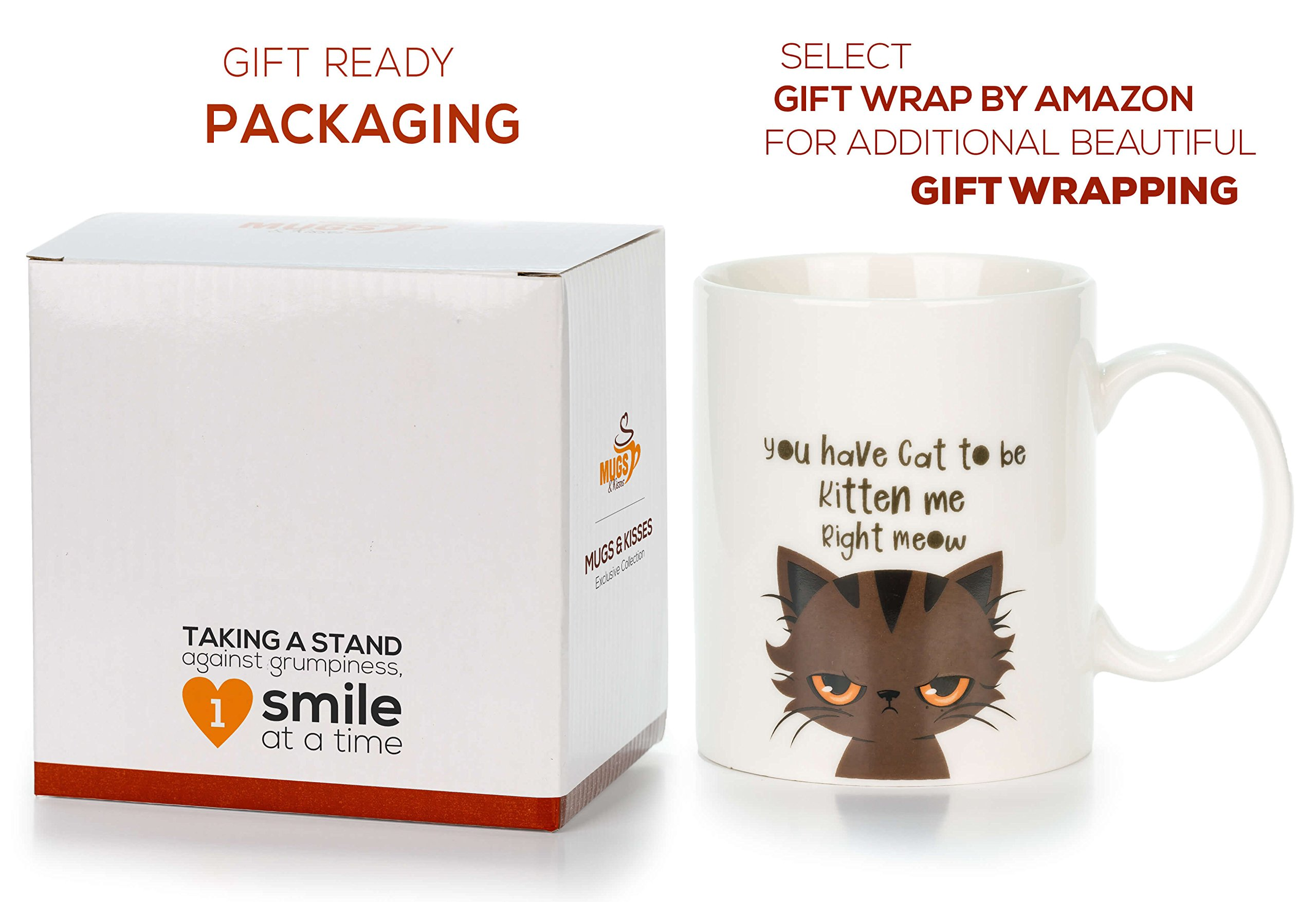 LetsInnovateLife Cat Mug - You Have Cat to Be Kitten Me Right Meow | Premium Coffee Mugs with Funny Cat Sayings | 11 Ounce Ceramic Mugs. A Great Birthday Surprise for Cat Lovers Kitten Stuff, Mom Tea