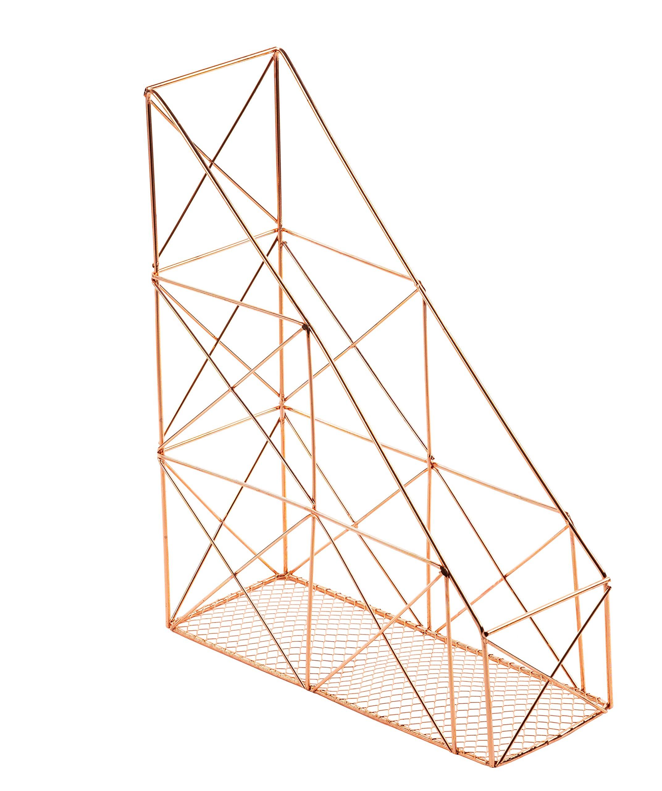 Magazine Holder - Metal Magazine Rack, Mesh Wire Frame Hip Geo Design Document File Holder, Rose Gold