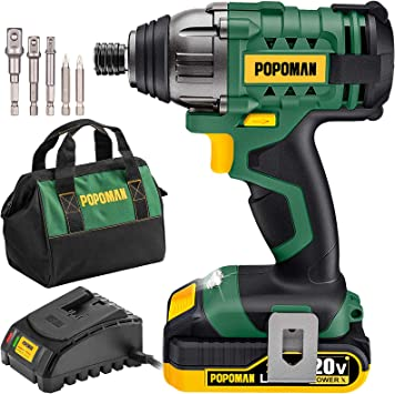 Impact Driver Kit, 1600In-lbs/180N.m 20V Impact Drill, 0-2900RPM Variable Speed, Cordless Impact Driver 1/4