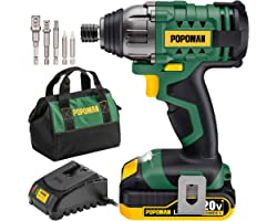 POPOMAN Impact Driver, Cordless Impact Driver Kit with1600In-lbs, 0-2900RPM Variable Speed, 20V Impact Drill Power Tool with