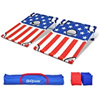 GoSports Portable PVC Framed Cornhole Game Set with 8 Bean Bags and Travel Carrying Case - Choose American Flag Design or Classic Red & Blue