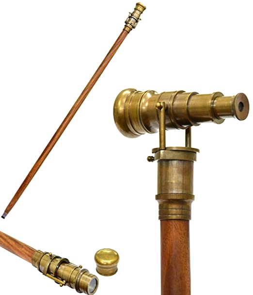 Men's Steampunk Goggles, Guns, Gadgets & Watches Brass Nautical Antique Telescope Finish Walking Stick Wood Cane Replica Steampunk $41.99 AT vintagedancer.com