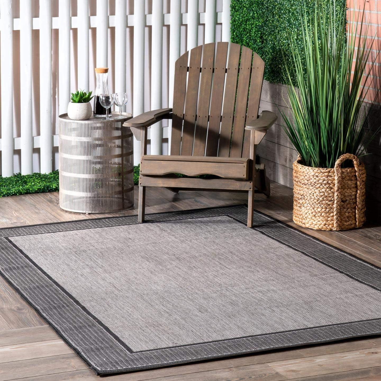 "nuLOOM Gris Border Indoor/Outdoor Area Rug, 7' 6"" x 10' 9"", Grey"
