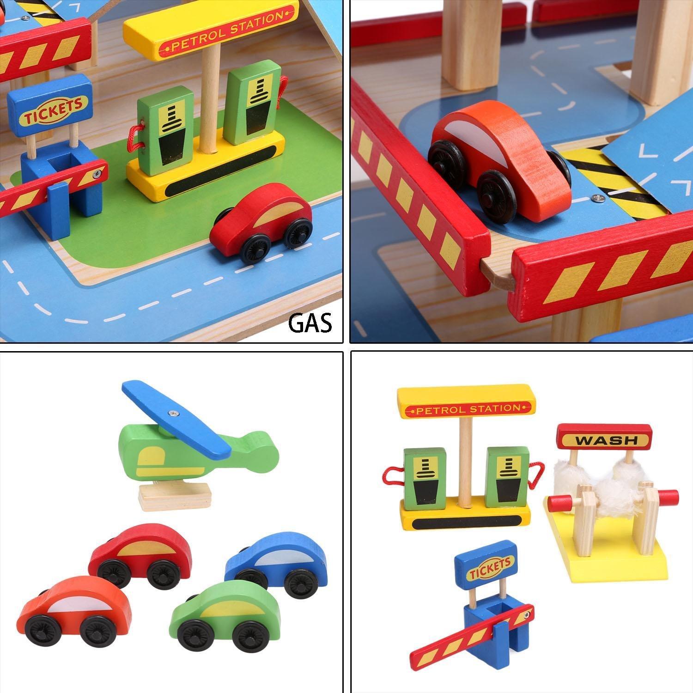 Lonlier Aparcamiento de juguete garaje de madera en 3 niveles ideal para niños a partir de 3 años: Amazon.es: Ropa y accesorios