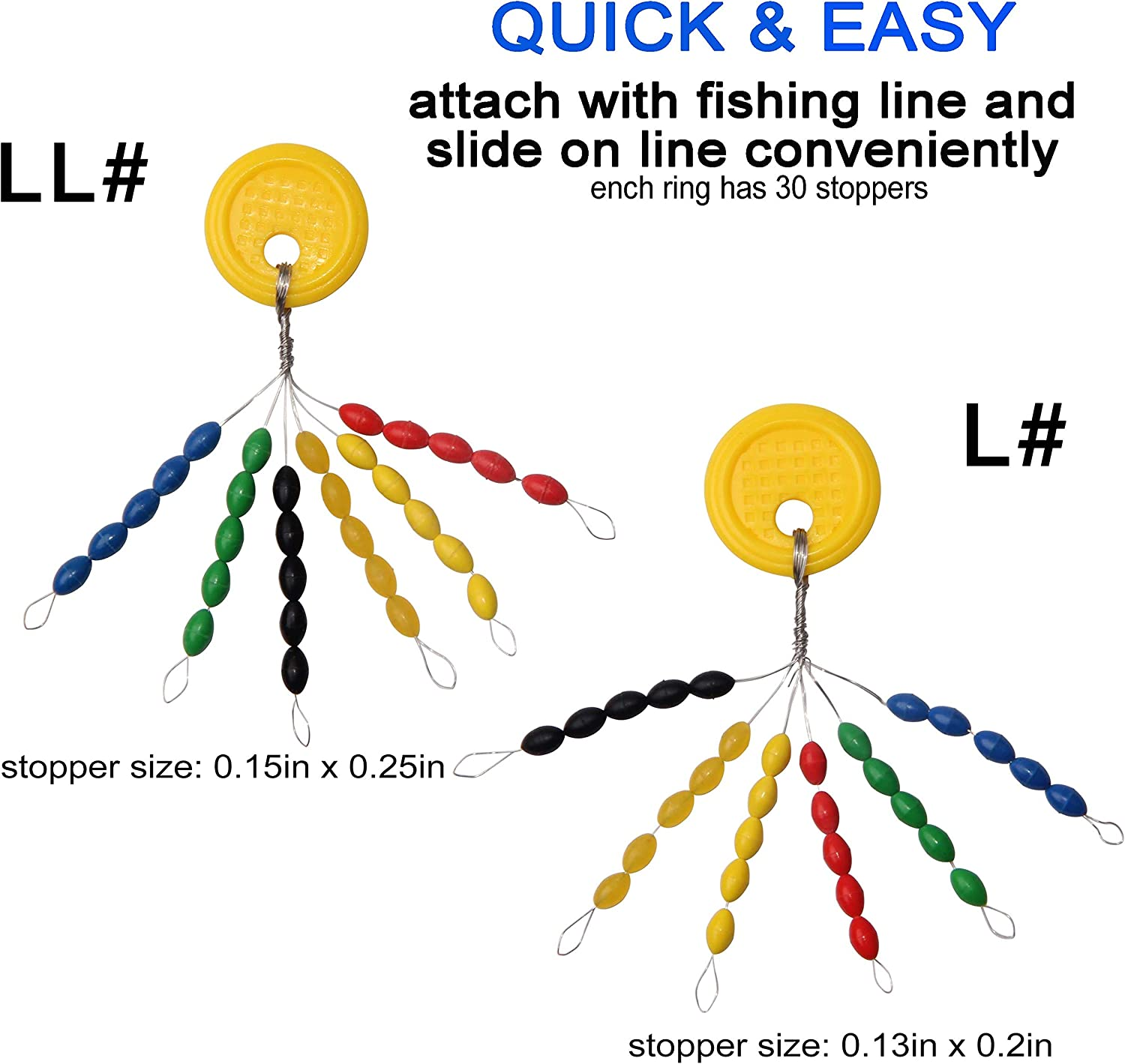 Fishing Rubber Bobber Stopper Beads Space Beans Colorful Oval Stopper Fishing Bobber Float Stop Connector Tackle Accessories for Fishing Line 6 Groups 5 in 1 Float Sinker Stops