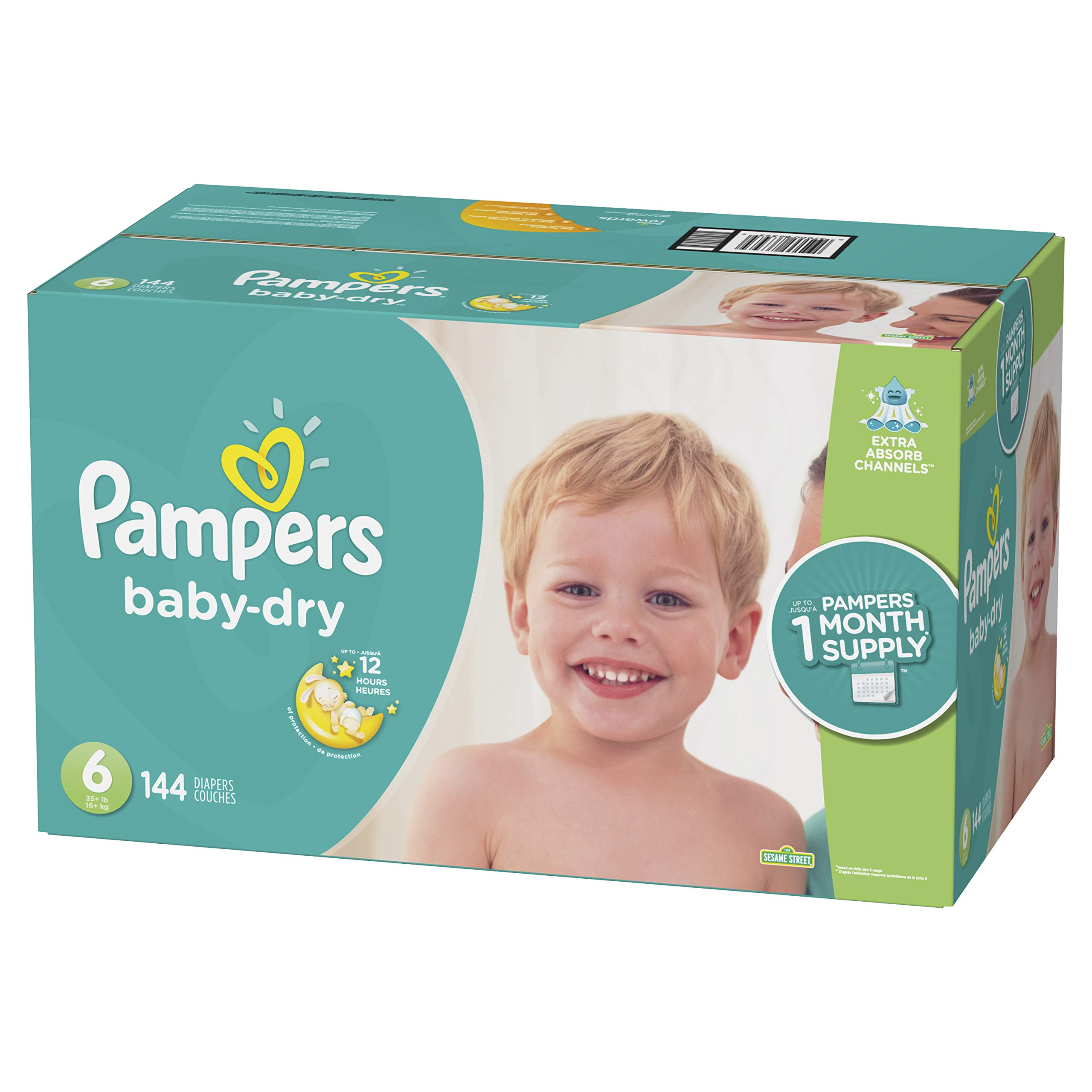 Diapers Size 6, 144 Count - Pampers Baby Dry Disposable Baby Diapers, ONE MONTH SUPPLY by Pampers