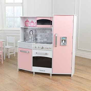 Kidkraft composite wood large modern play kitchen in pink for kids 3 years up cookware