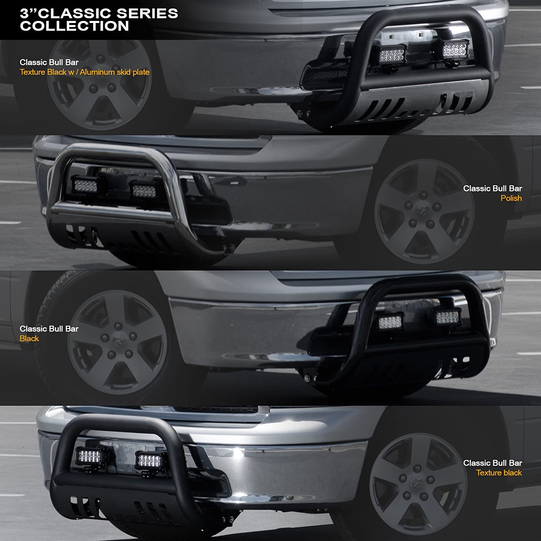 Matte Black//Brush Aluminum Skid Plate with 36W CREE LED Lights Bar For 2007-2018 Chevy Silverado Tahoe Suburban Avalanche//GMC Sierra Yukon 1500 Stehlen 714937185715 3 Classic Series Bull Bar