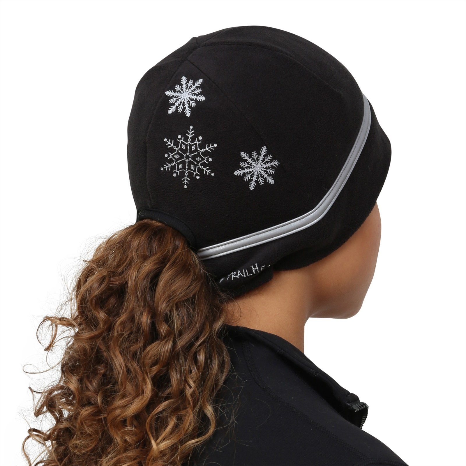 8e0b3f127ff TrailHeads Women s Ponytail Hat - Reflective Cold Weather Running Beanie -  black snowflake