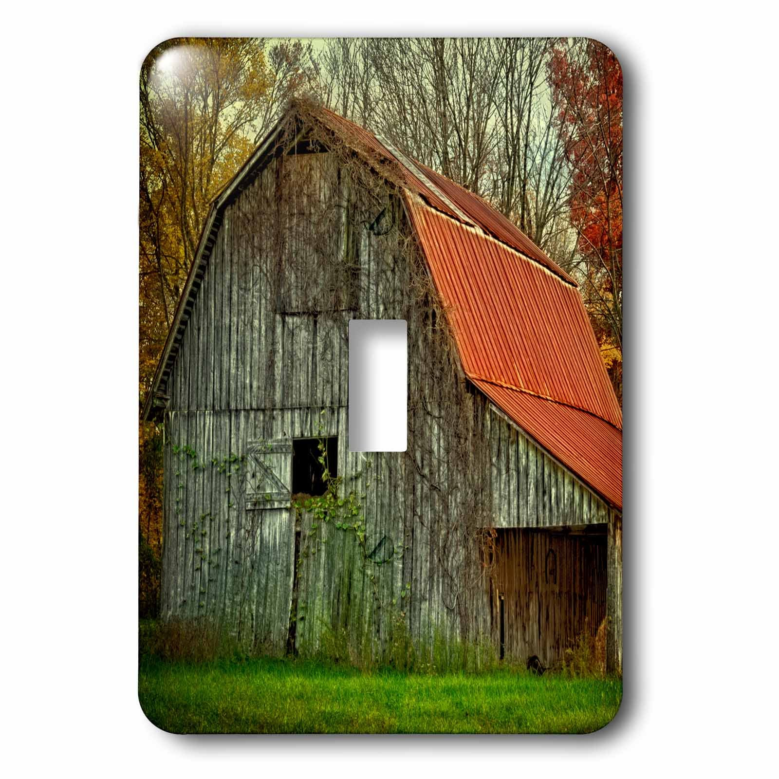 Danita Delimont - Rural - USA, Indiana. rural landscape, vine-covered barn with red roof - Light Switch Covers - single toggle switch (lsp_230816_1)