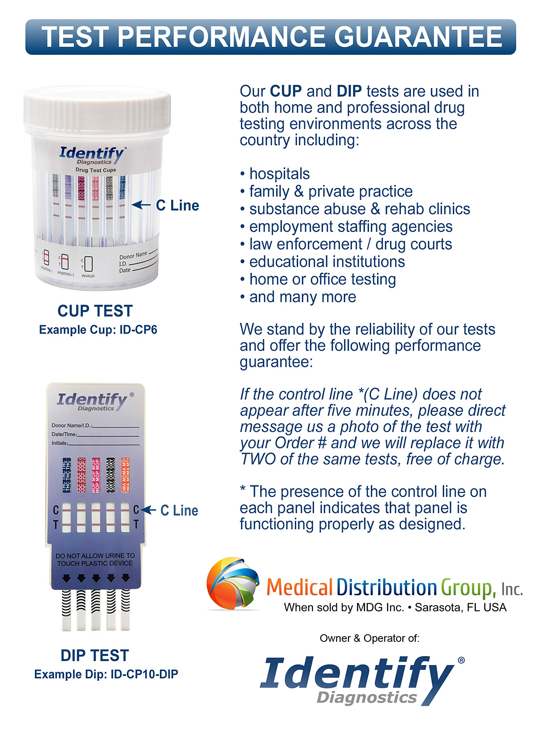 5 Pack Identify Diagnostics 12 Panel Drug Test Dip with Low Opiates Cutoff - Testing Instantly for 12 Drugs: THC, COC, MOP, OXY, MDMA, BUP, AMP, BAR, BZO, MET, MTD, PCP #ID-CP12-DIP by Identify Diagnostics (Image #8)