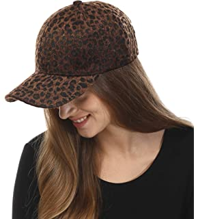 fdc56934df902 Leopard Print Cap with Leather Bill - Brown OSFM at Amazon Women s ...