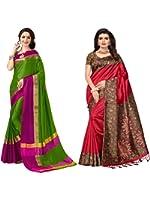 Mrinalika Fashion Art Silk Combo Of Saree (Multicolor, Free Size)