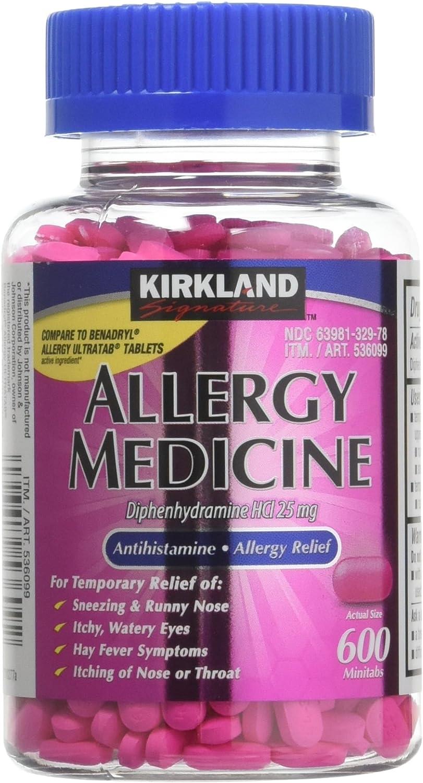 Diphenhydramine HCI 25 Mg - Kirkland Brand - Allergy Medicine and AntihistamineCompare to Active Ingredient of Benadryl® Allergy Generic 1200 Count: Health & Personal Care