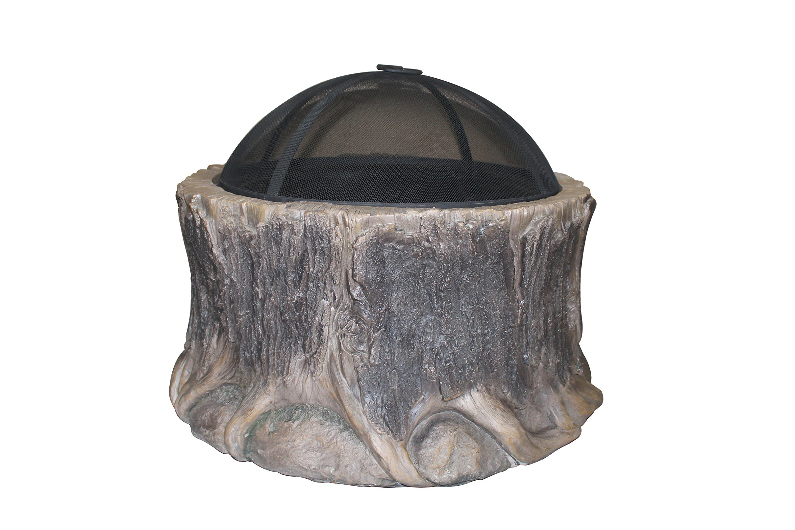 Peaktop HR28601AA Tree Wood Burning Fire Pit Outdoor Garden Old, 28 Inches, Gray - This fire pit is a wonderful addition to any patio and is sure to provide you and all of your guests with warmth for those mild summer nights. Sturdy light weight concrete construction designed. Spark screen and fire poker included. - patio, outdoor-decor, fire-pits-outdoor-fireplaces - 813pk9EECuL -