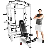 Marcy Pro Folding Power Cage Home Gym with Weight Bench - White, One Size