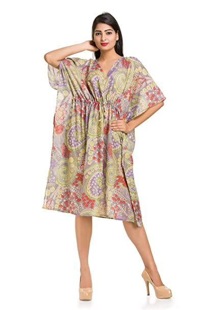 ac6509475910 Gray Paisley Printed Women's Cotton Caftan Free Size Gown Kimono Cover up  Free Size Tunic Sexy Ladies Gown Maternity Short Gown Maxi ...