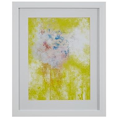 Modern Yellow Abstract Print Wall Art, White Frame, 13  x 15