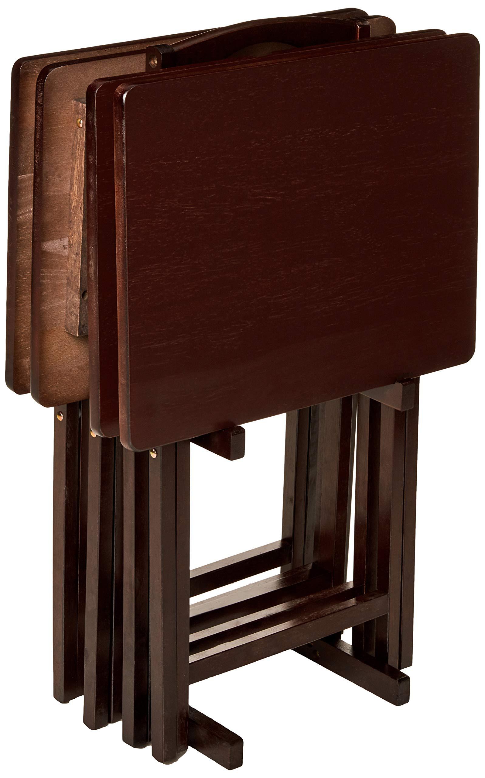 PJ Wood 5-piece Folding TV Tray & Snack Table - Espresso by PJ Wood