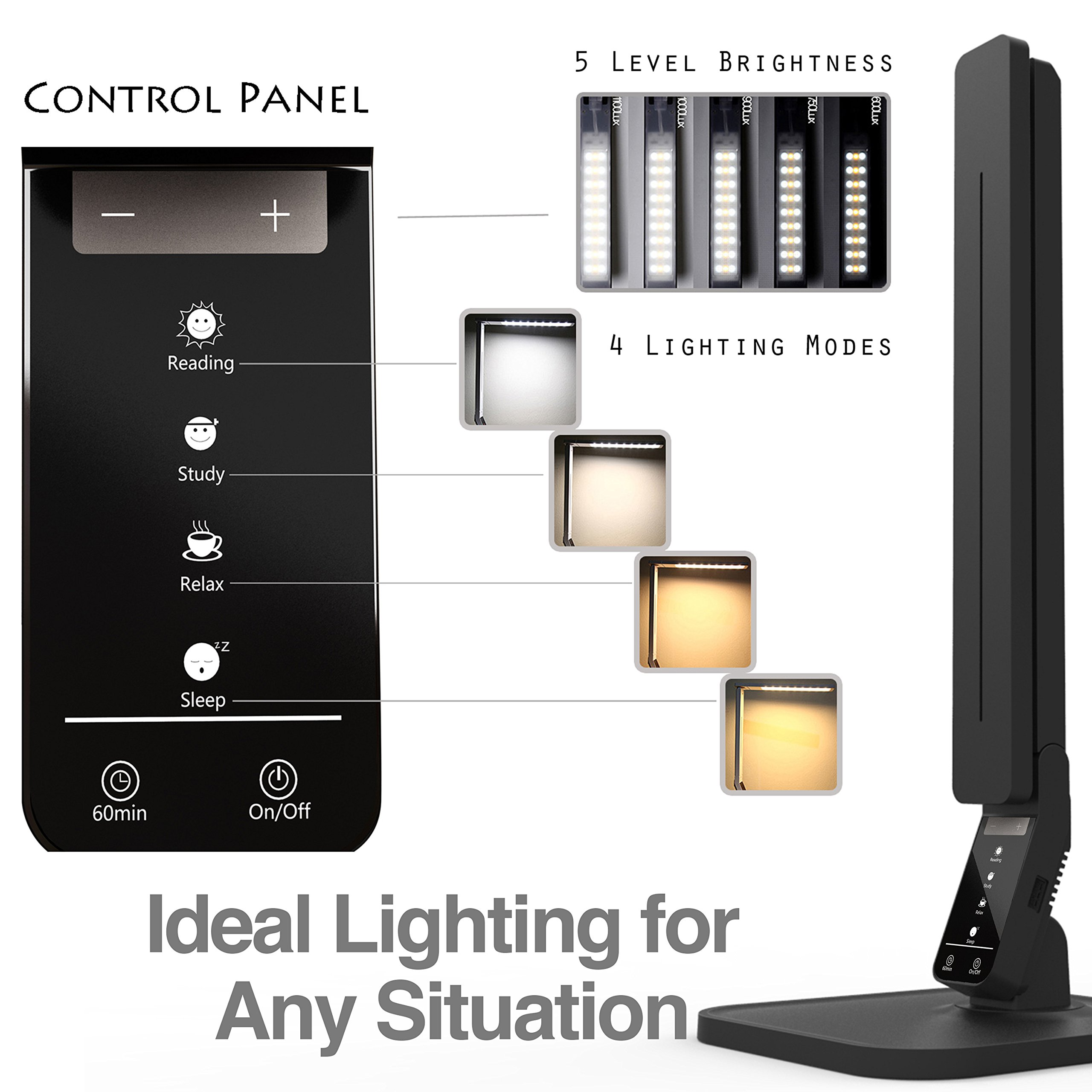 Lampat LED Desk Lamp, Dimmable LED Table Lamp Black, 4 Lighting Modes, 5-Level Dimmer, Touch-Sensitive Control Panel, 1-Hour Auto Timer, 5V/2A USB Charging Port) by LAMPAT (Image #4)