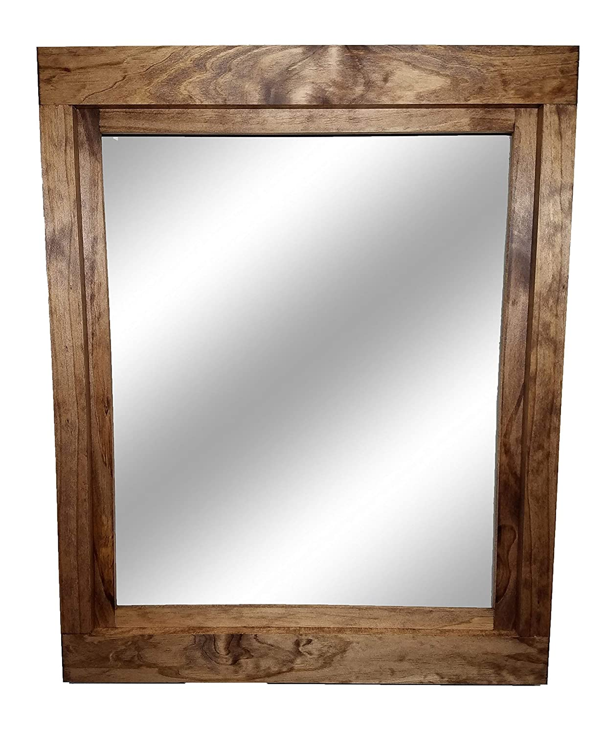Farmhouse Large Framed Mirror Available in Four Sizes and 20 Colors: Shown in Early American - Large Wall Mirror - Bathroom Mirror - Rustic Wall Decor
