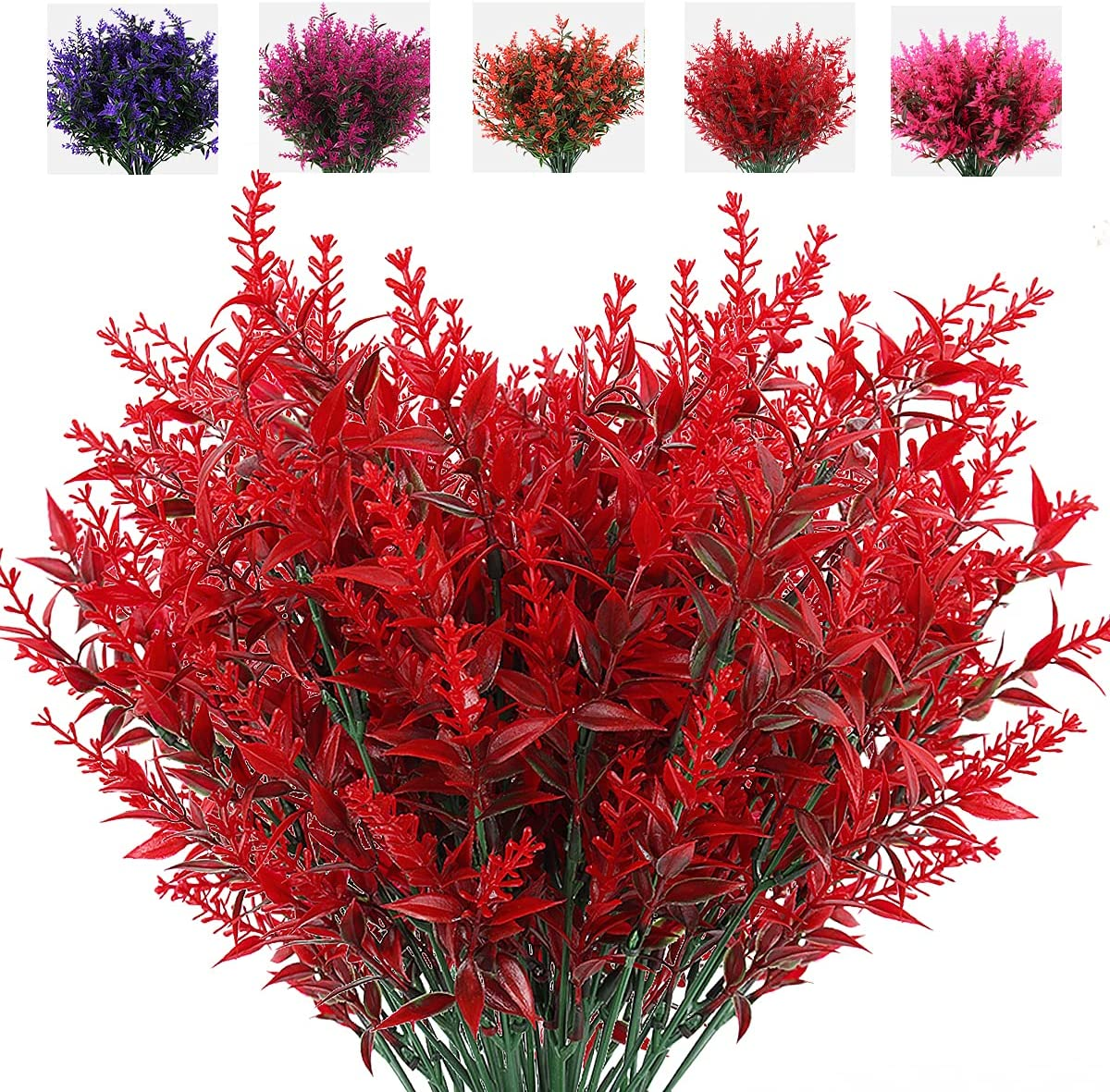 Artificial Outdoor Flowers, 8pcs Faux Outdoor Plant Plastic Lavender Bouquet,UV Resistant Flowers,Spring Decor,Lifelike Natural Fake Plant to Brighten Up Your Home (Red)