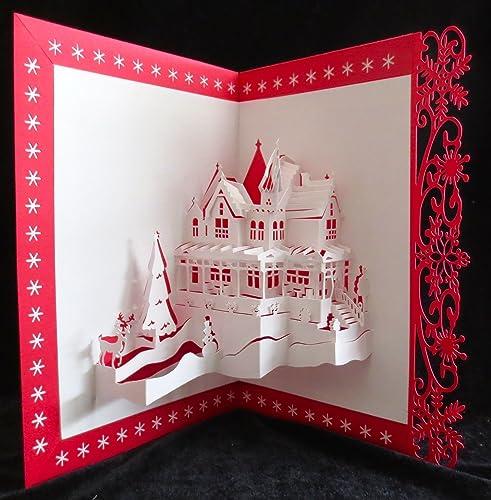 HANDMADE 3D POP UP CHRISTMAS NEW YEAR FESTIVE SEASON CARD RED OUTSIDE KIRIGAMI*