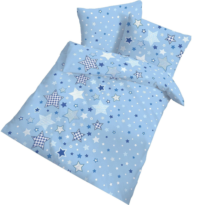 Franela Baby Cama estrellas estrellas color azul claro–tamaño 40x 60+ 100x 135cm–Fabricado en Alemania Dobnig