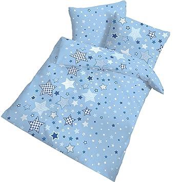 Renforce Baby Bettwäsche Stars Sterne Sternchen Himmelblau Kissen