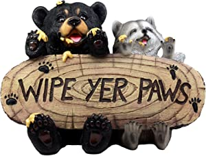 "Ebros Gift 13"" Long Black Bear and Raccoon Feasting On Honey Welcome Statue Wipe Your Paws Guest Greeter Cleanup Reminder Decorative Figurine Decor"