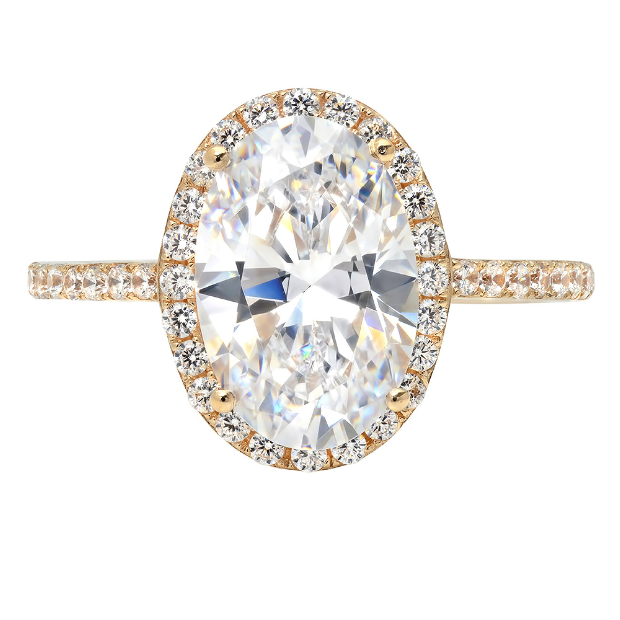 3.58ct Brilliant Oval Cut Halo Solitaire Statement Ring 14k Yellow Gold, 6.25, Clara Pucci