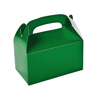 Fun Express - Green Treat Boxes - Party Supplies - Containers & Boxes - Paper Boxes - 12 Pieces: Toys & Games