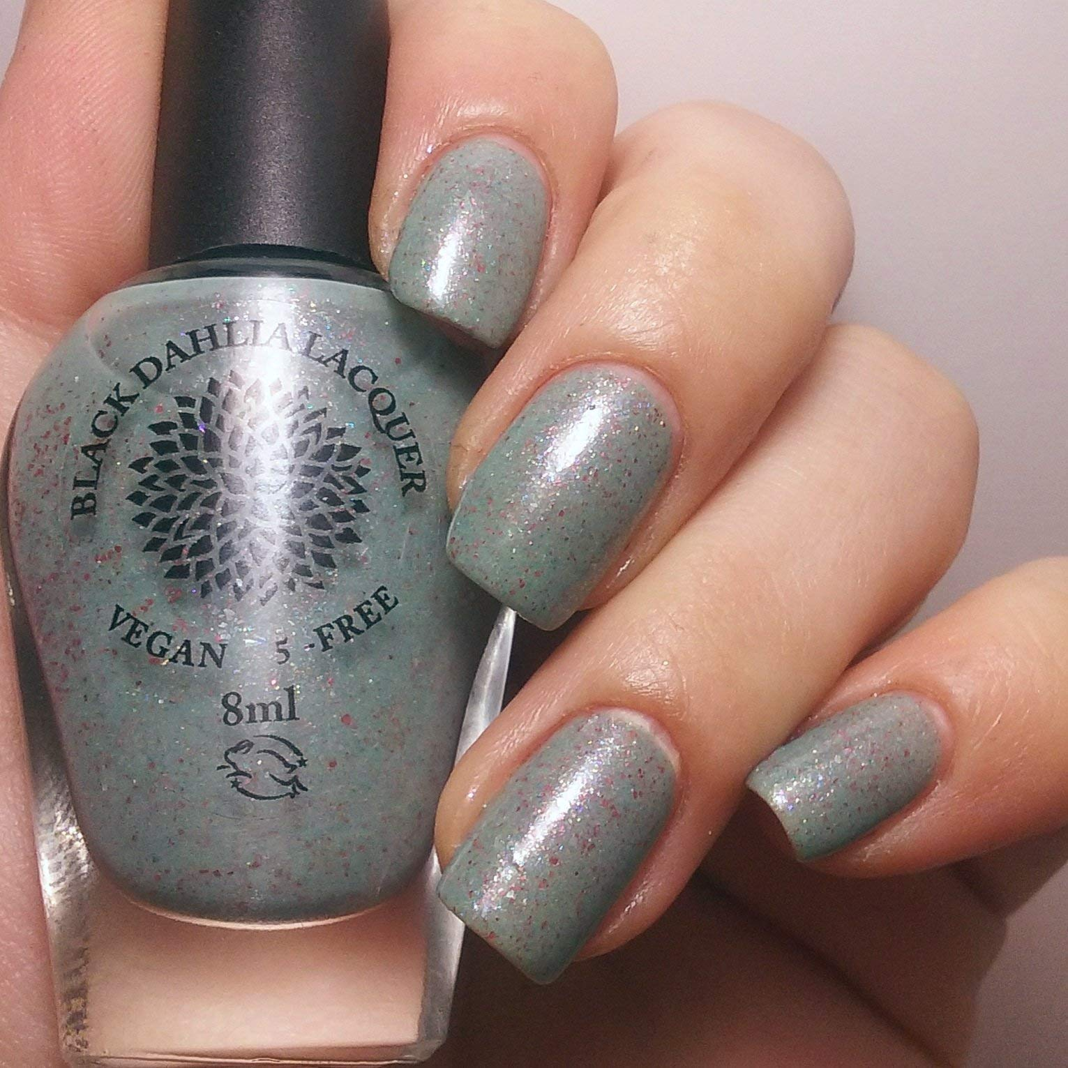 Rose Bud | Green Gray Crelly Nail Polish with Rainbow Flakies | by Black Dahlia Lacquer by Black Dahlia Lacquer LLC