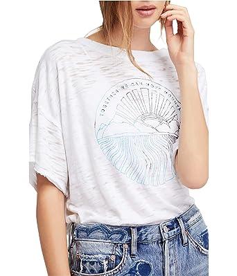 6f0e65325382 Free People Womens Jordan Graphic T-Shirt White S at Amazon Women s ...