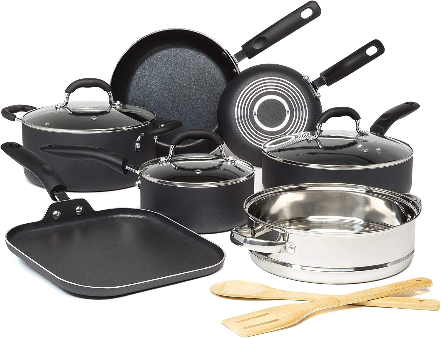Goodful Premium Non-Stick Cookware Set, Dishwasher Safe Pots and Pans, Diamond Reinforced Coating, Made Without PFOA, 12-Piece, Charcoal Gray