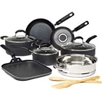 Goodful Premium Non-Stick Cookware Set, Dishwasher Safe Pots and Pans, Diamond Reinforced Coating, Made Without PFOA, 12…